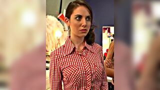 Alison Brie having her shirt ripped open to reveal her huge tits