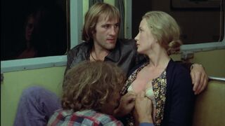 Brigitte Fossey lets two guys fondle her on a train