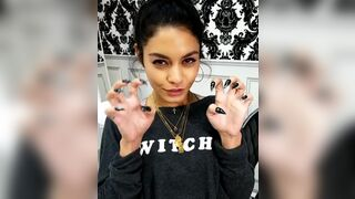 Vanessa Hudgens showing off her sexy black claws. She's going to use them to mark what's hers. Cupping and slightly digging them into your balls. And then really driving you crazy, when she's slowly running them up and down on your hard, pulsating shaft,