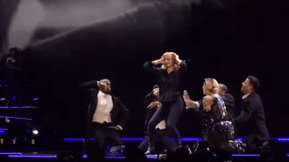 Jessica Chastain dancing and spanking Madonna onstage