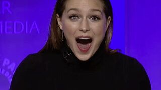 Melissa Benoist realizing she mistakenly wore vibrating panties after you turn it on during her interview