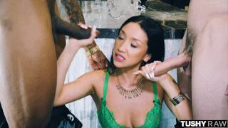 Vicki Chase Sucking Dicks In Green Lingerie