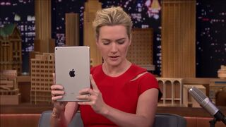 Kate Winslet and Jimmy Fallon watch a video of Kate getting facialized
