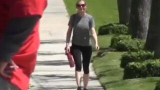 Kirsten Dunst walking and bouncing