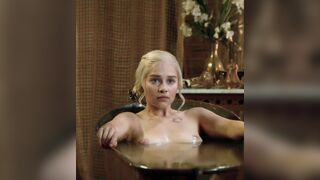 Emilia Clarke getting out of the tub in Game of Thrones